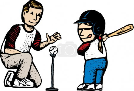 Woodcut Illustration of Father Coaching His Daughter in Baseball