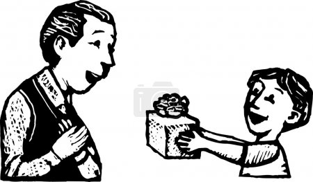 Illustration for Woodcut Illustration of Boy Giving His Father a Gift - Royalty Free Image