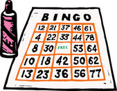 Woodcut Illustration of Bingo Card and Marker
