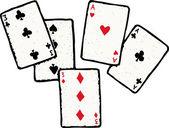 Woodcut Illustration of Full House Poker Hand