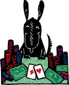 Woodcut Illustration of Dog Playing Poker