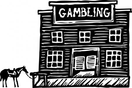 Woodcut Illustration of Old West Gambling Saloon