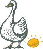 Woodcut Illustration of Goose and Golden Egg