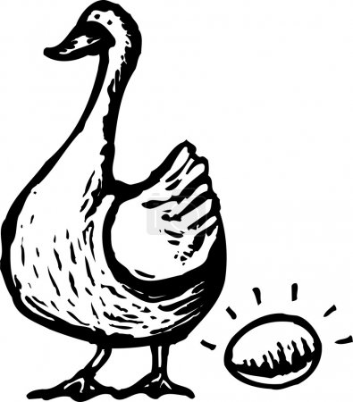 Illustration for Woodcut Illustration of Goose and Golden Egg - Royalty Free Image