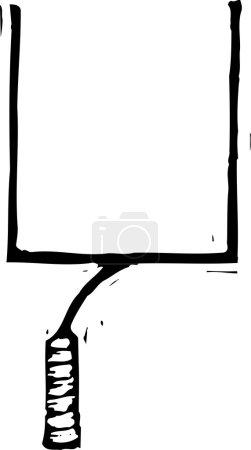 Woodcut Illustration of Football Goal Post