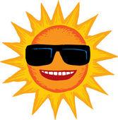 Woodcut Illustration of Sun Wearing Sunglasses