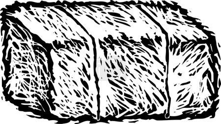 Woodcut Illustration of Hay Bale