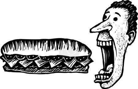 Illustration for Woodcut Illustration of Man Eating Giant Submarine Sandwich - Royalty Free Image