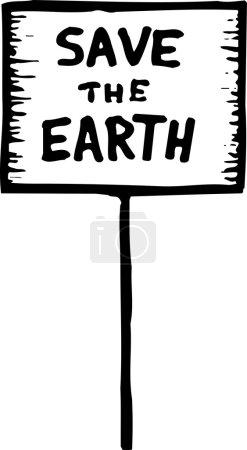 Holzschnitt-Illustration des Protestschildes save the earth