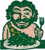 Woodcut Illustration of Caveman Eating His Greens