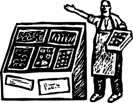 Woodcut Illustration of Produce Grocer