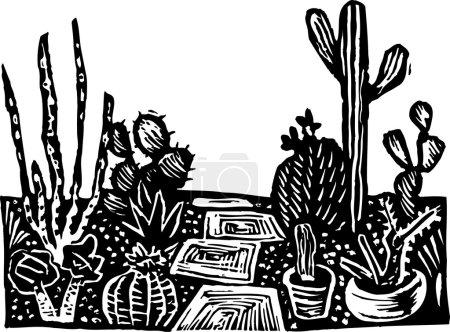 Holzschnitt-Illustration des Kakteengartens