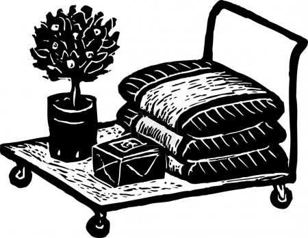Woodcut Illustration of Flatbed Cart at Nursery with Garden Supplies