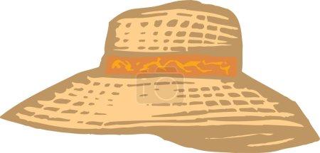 Woodcut Illustration of Sun Hat