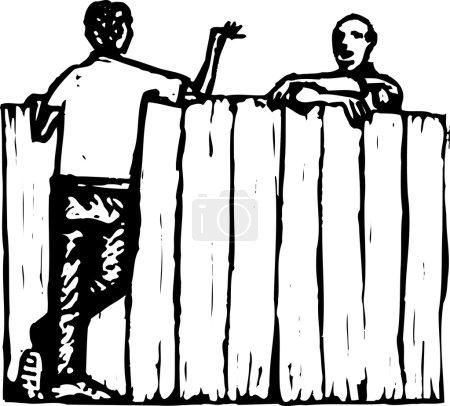 Illustration for Woodcut Illustration of Men Neighbors Talking Over Fence - Royalty Free Image