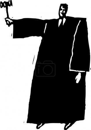 Illustration pour Vecteur noir et blanc Illustration du juge - image libre de droit