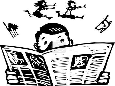 Holzschnitt-Illustration eines Mannes beim Zeitungslesen mit lärmender Familie