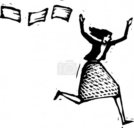 Woodcut Illustration of Stressed Out Woman Running from Paperwork