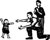 Woodcut Illustration of Toddler Taking First Steps to Parents