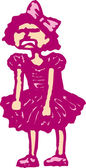 Woodcut Illustration of Little Girl in Party Dress Throwing Tantrum