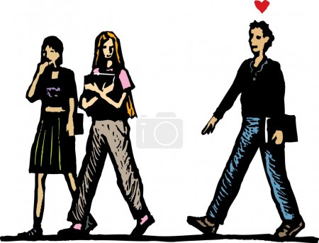 Woodcut Illustration of Teen Boy in Love Following Girls