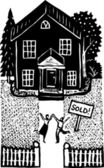 Woodcut Illustration of Happy Couple Celebrating Their New Home