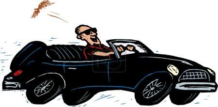 Woodcut Illustration of Man Driving Sports Car During Midlife Crisis