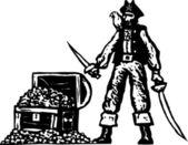 Woodcut Illustration of Long John Silver