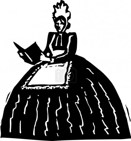 Illustration for Woodcut Illustration of Mother Goose - Royalty Free Image