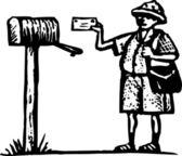 Woodcut Illustration of Mailman Delivering a Letter