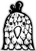 Woodcut Illustration of Chicken Mask