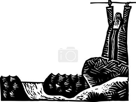 Holzschnitt-Illustration von Moses beim Abschied vom Roten Meer