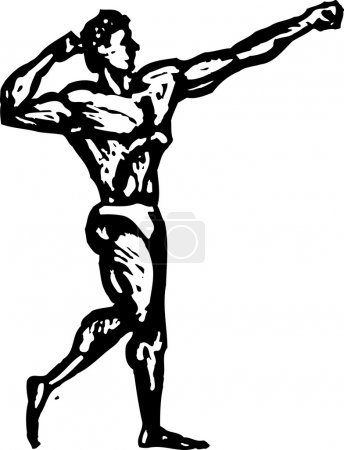 Woodcut Illustration of Muscle Man Body Builder