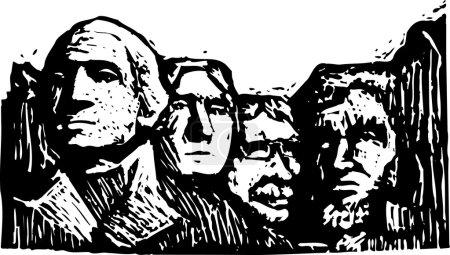 Woodcut Illustration of Mt Rushmore