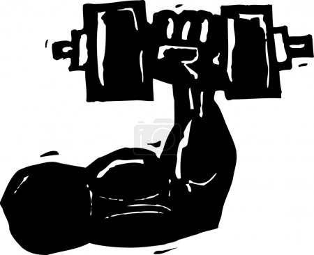 Woodcut Illustration of Muscular Arm Lifting Weight