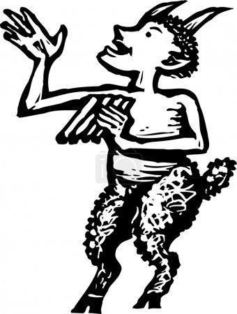 Illustration for Woodcut Illustration of Pan - Royalty Free Image