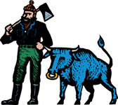 Woodcut Illustration of Paul Bunyan and His Blue Ox