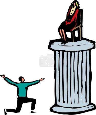 Woodcut Illustration of Man Worshipping Woman on Pedestal