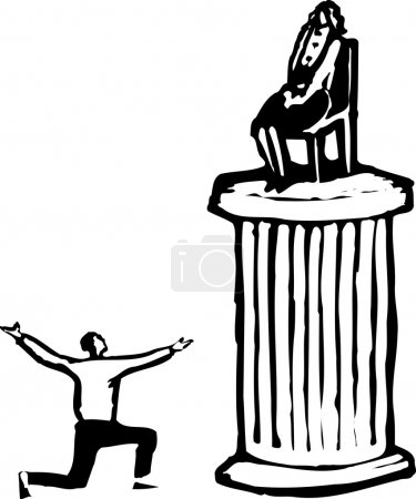 Woodcut Illustration of Man Worshipping Woman on Pedestal