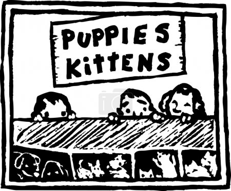 Woodcut Illustration of Kids Looking Through Pet Store Window at Puppies and Kittens