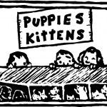Woodcut Illustration of Kids Looking Through Pet S...