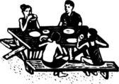 Woodcut Illustration of Family Picnic