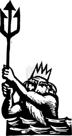 Illustration for Woodcut Illustration of Poseidon - Royalty Free Image