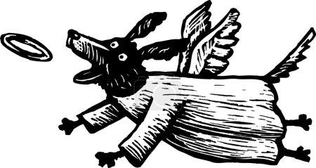 Woodcut Illustration of Angel Dog Chasing Halo
