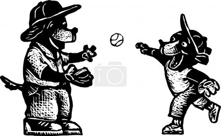 Illustration for Woodcut Illustration of Father Dog Playing Catch with Son - Royalty Free Image