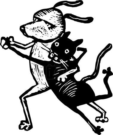 Holzschnitt-Illustration von Katzen und Hunden beim Tanz
