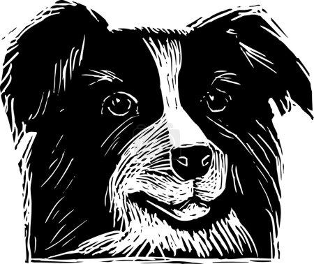 Woodcut Illustration of Cattle Dog Face