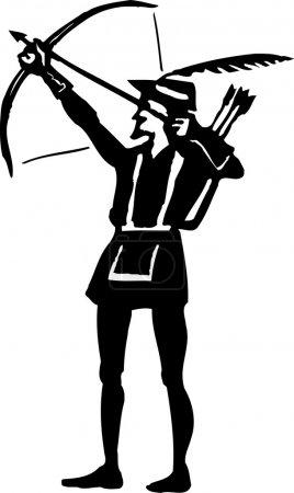 Woodcut Illustration of Robin Hood Shooting an Arr...