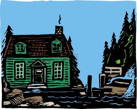 Illustration for Woodcut Illustration of Cape Cottage - Royalty Free Image
