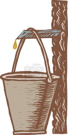 Illustration pour Illustration de la récolte du sirop d'érable - image libre de droit